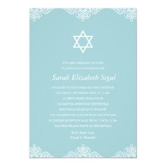 Elegant Blue Bat Mitzvah 13 Cm X 18 Cm Invitation Card