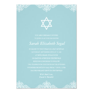 Elegant Blue Bat Mitzvah Card