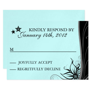 Elegant Blue Beach Destination Themed RSVP Cards