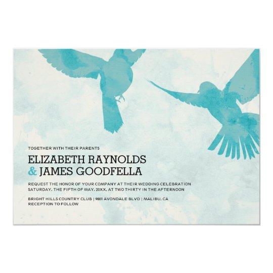 Elegant Blue Bird Wedding Invitations