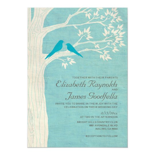 Elegant Blue Birds Wedding Invitations