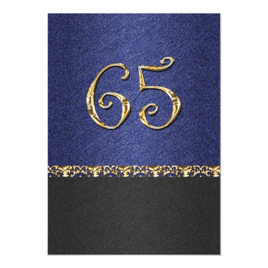 Elegant blue black 65th gold party card