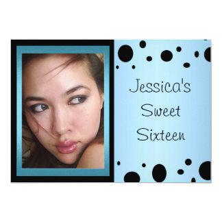 Elegant Blue Black Spots Photo Sweet 16 Card