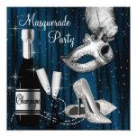 Elegant Blue Black White Masquerade Party Custom Invitations