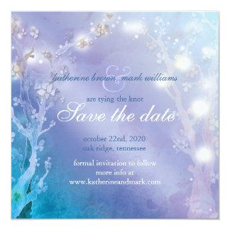 Elegant Blue Blush Wedding Save the Date 13 Cm X 13 Cm Square Invitation Card