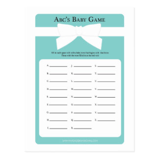 Elegant Blue Bow ABC's Baby Shower Game Postcard