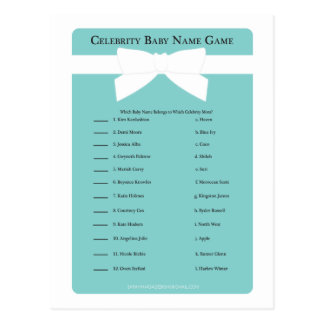 Elegant Blue Bow Celebrity Baby Name Shower Game Postcard