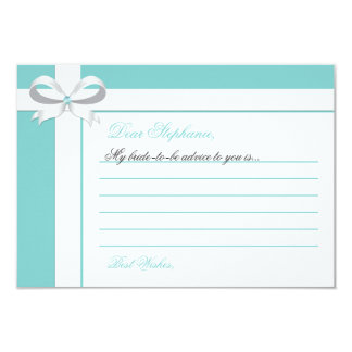 Elegant Blue Bridal Shower Notes of Advice Card