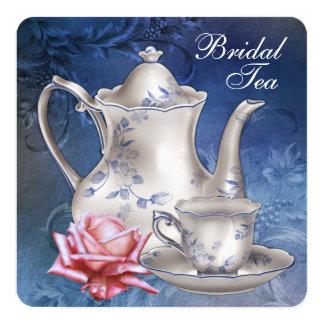 Elegant Blue Bridal Tea 13 Cm X 13 Cm Square Invitation Card