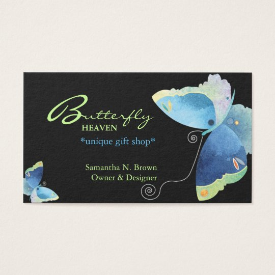 Elegant Blue Butterfly Personalised Business Cards