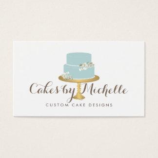 Elegant Blue Cake with Florals Cake Decorating Business Card