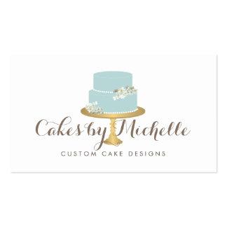 Elegant Blue Cake with Florals Cake Decorating Pack Of Standard Business Cards