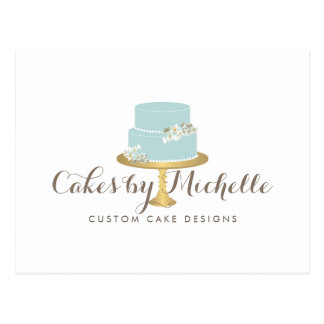 Elegant Blue Cake with Florals Cake Decorating Postcard