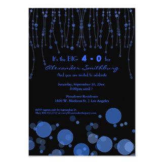 Elegant Blue Chains Birthday Party Invite
