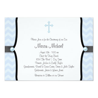 Elegant Blue Chevron Christening 13 Cm X 18 Cm Invitation Card