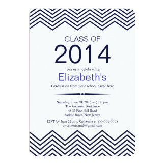 Elegant Blue Chevron Graduation Party Invitation