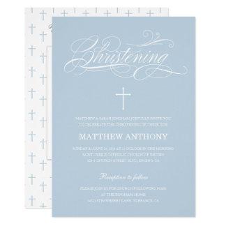 Elegant Blue Christening | Baptism Photo Card