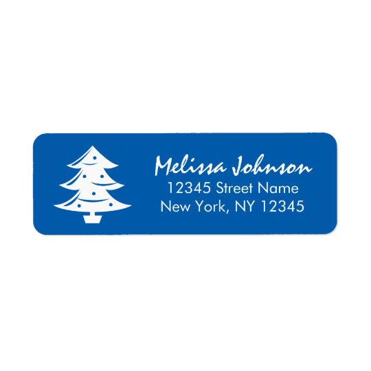 Elegant blue Christmas tree custom winter holiday Return Address Label
