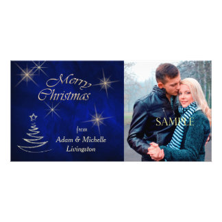 Elegant Blue Christmas Tree Photo Cards