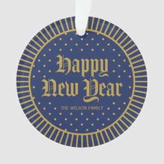Elegant Blue Classic Decorative Happy New Year Ornament
