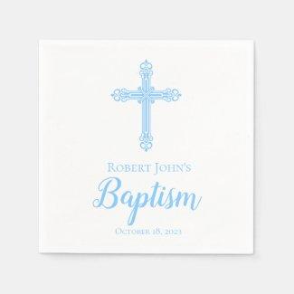 Elegant Blue Cross Baptism Personalised Napkin