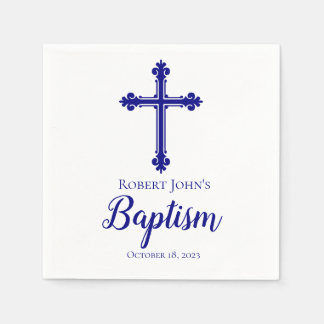 Elegant Blue Cross Baptism Personalized Napkin Disposable Napkin