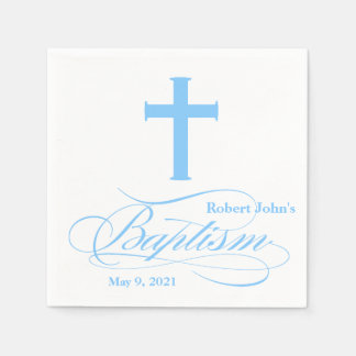 Elegant Blue Cross Baptism Personalized Napkin Disposable Serviettes