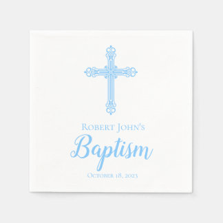 Elegant Blue Cross Baptism Personalized Napkin Paper Napkin