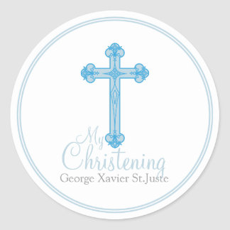 elegant blue cross CHRISTENING party favor label