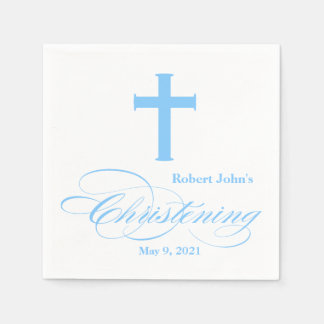 Elegant Blue Cross Christening Personalized Napkin Disposable Napkins
