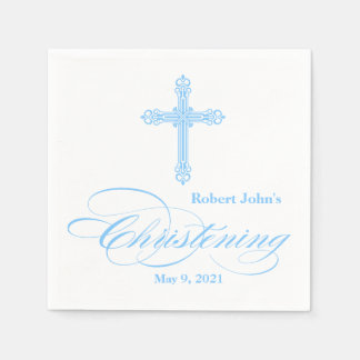 Elegant Blue Cross Christening Personalized Napkin Disposable Serviette