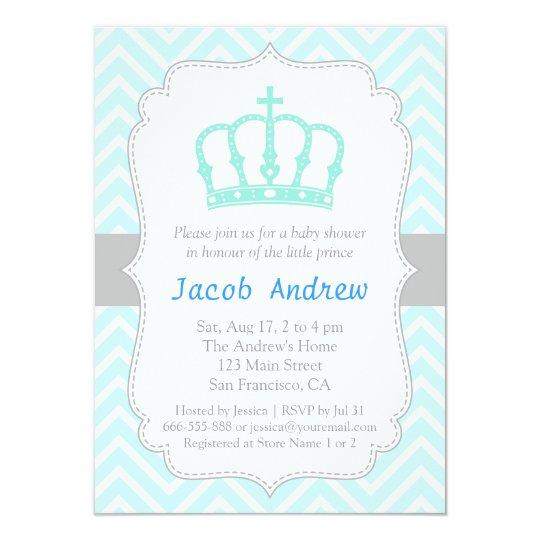 Elegant Blue Crown Prince Baby Shower Invitation