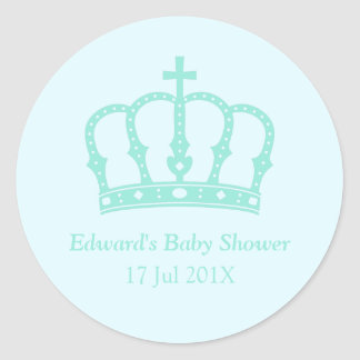 Elegant Blue Crown Prince Baby Shower Stickers