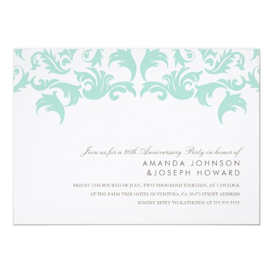 Elegant Blue Damask Anniversary Party Invite
