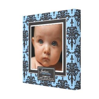 Elegant Blue Damask Baby Photo Birth Decor