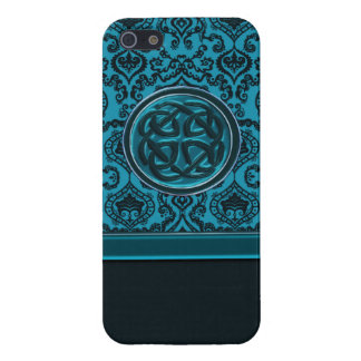 Elegant Blue Damask Celtic Knot iPhone Case iPhone 5 Case
