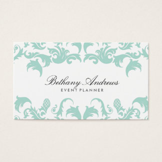 Elegant Blue Damask Event Planner Business Cards