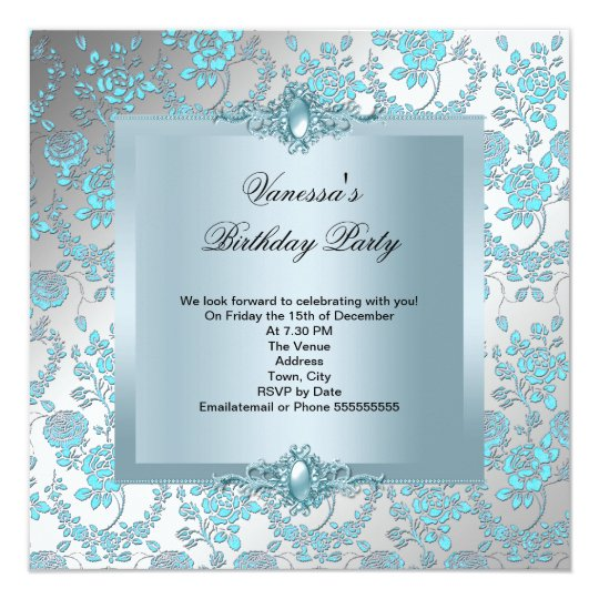 Elegant Blue Damask Floral Birthday Party Card