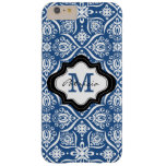 Elegant Blue Damask Pattern Custom Monogram [2] Barely There iPhone 6 Plus Case