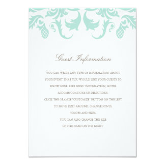 Elegant Blue Damask Wedding Insert Card