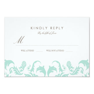 Elegant Blue Damask Wedding RSVP Card