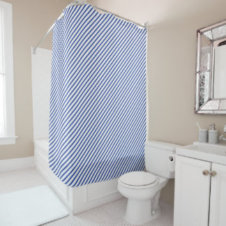Elegant Blue Diagonal Stripe Shower Curtain