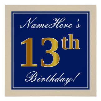 Elegant, Blue, Faux Gold 13th Birthday + Name Poster