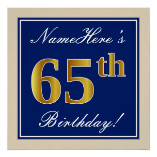 Elegant, Blue, Faux Gold 65th Birthday + Name Poster