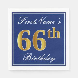 Elegant Blue, Faux Gold 66th Birthday; Custom Name Paper Napkin