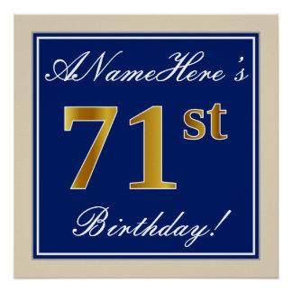 Elegant, Blue, Faux Gold 71st Birthday + Name Poster