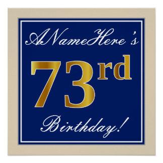 Elegant, Blue, Faux Gold 73rd Birthday + Name Poster