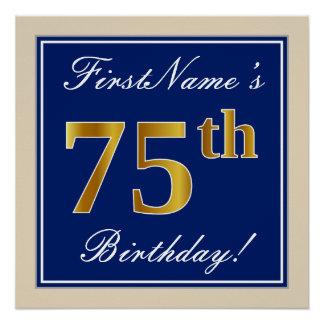 Elegant, Blue, Faux Gold 75th Birthday + Name Poster