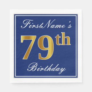 Elegant Blue, Faux Gold 79th Birthday; Custom Name Disposable Napkin