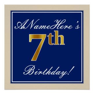 Elegant, Blue, Faux Gold 7th Birthday; Custom Name Poster